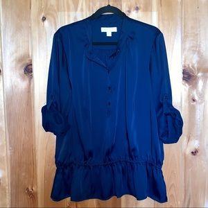 Michael Kors navy blue drop waist blouse size XL
